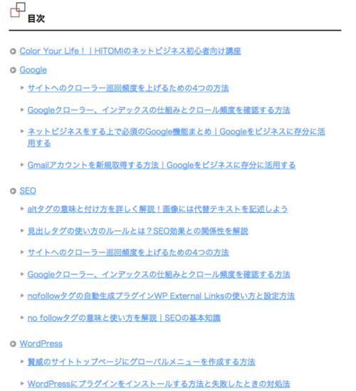 目次PS Auto Sitemaps、サイト、目次